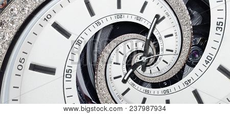 Modern Diamond White Stylish Clock With Clock Hands And Watch Mechanism Twisted To Surreal Spiral. T
