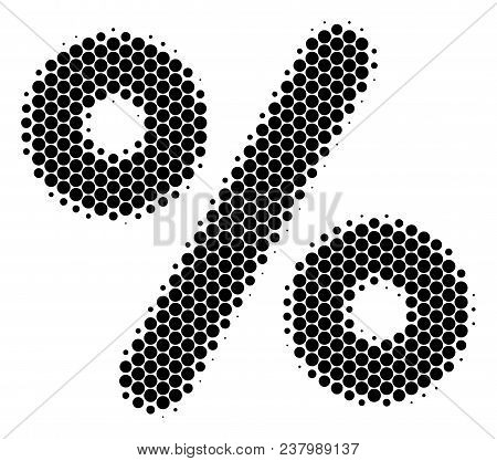Halftone Dot Percent Icon. Pictogram On A White Background. Vector Concept Of Percent Icon Construct