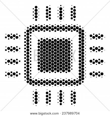 Halftone Dot Processor Icon. Pictogram On A White Background. Vector Mosaic Of Processor Icon Constr