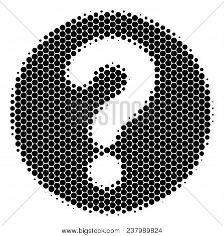 Halftone Dot Query Icon. Pictogram On A White Background. Vector Composition Of Query Icon Designed