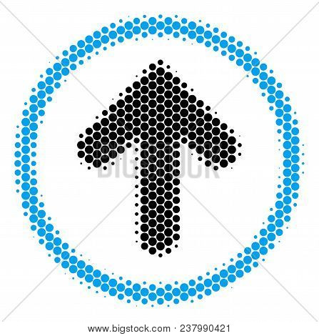 Halftone Round Spot Rounded Arrow Icon. Pictogram On A White Background. Vector Composition Of Round