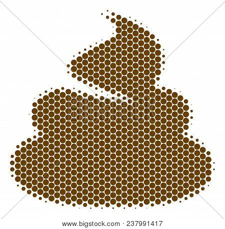 Halftone Dot Shit Icon. Pictogram On A White Background. Vector Concept Of Shit Icon Designed Of Sph