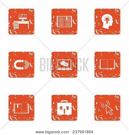 Place Of Genius Icons Set. Grunge Set Of 9 Place Of Genius Vector Icons For Web Isolated On White Ba