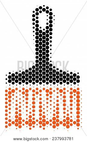 Halftone Dot Wide Brush Icon. Pictogram On A White Background. Vector Mosaic Of Wide Brush Icon Done