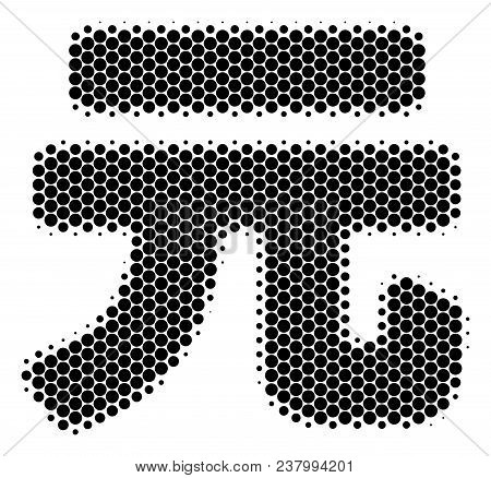 Halftone Round Spot Yuan Renminbi Icon. Pictogram On A White Background. Vector Pattern Of Yuan Renm