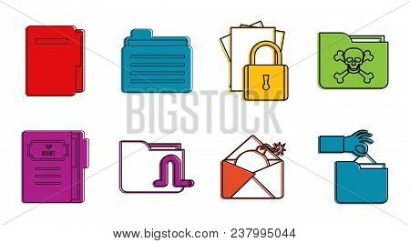 Folder Icon Set. Color Outline Set Of Folder Vector Icons For Web Design Isolated On White Backgroun