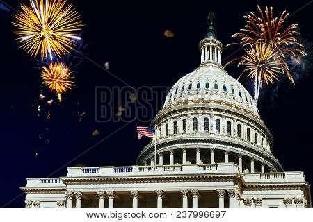 Independence Day Fireworks Celebrations Over U.s. Capitol In Washington Dc 4th July,