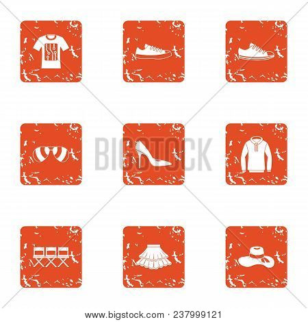 Garment Icons Set. Grunge Set Of 9 Garment Vector Icons For Web Isolated On White Background