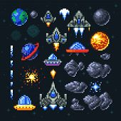 Retro space arcade game pixel elements. Invaders, spaceships, planets and ufo vector set. Video arcade game in pixel art, illustration of spaceship and invader rocket poster