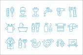 Collection of linear icons related to bathroom and personal hygiene. Toilet, sink, hairdryer, bathrobe, towel, shaving foam and razor, rubber duck, toothpaste and brush. Vector items isolated on white poster