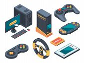Console and computer systems and gadgets for gamers. Computer and gadget controller, console play, control game device. Vector illustration poster