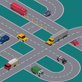 crossing roads construction with various cars. City traffic junction banner with cars in highway, urban transportation infrastructure. Isometric view of speedway with transport vector illustration. poster