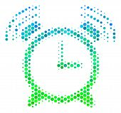 Halftone circle Buzzer pictogram. Icon in green and blue color tones on a white background. Vector collage of buzzer icon composed of circle elements. poster