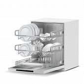 Vector 3d realistic white dishwasher machine with three metal racks, filled with clean plates, glasses, cups, cutlery, side view isolated on background. Modern household appliance for washing dishes poster