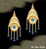 Luxury art deco filigree chain earrings, jewel with small blue sapphire , antique elegant gold jewelry, fashion in victorian style, vector EPS 10 poster