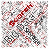 Conceptual big data large size storage systems square red word cloud isolated background. Collage of search analytics world information, nas development, future internet mobility concept poster