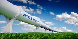 Hyperloop Transportation Concept. Futuristic Transportation Technology In Fresh Spring Nature. 3d Re