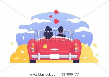 Love Of Man And Woman Romantic Travelling By Car Illustration. Back View Couple Characters Sitting I