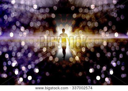 Eternal Soul. Bright aura or human silhouette in endless space. 3D rendering
