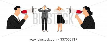 Aggressive Management. Leaders Screaming At Managers. Business People Vector Illustration