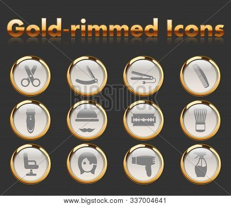 barber shop gold-rimmed vector icons with black background poster