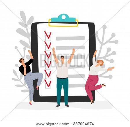 Effective Time Management. People Completed Business Plan. Team Rejoices Task Done Vector Illustrati