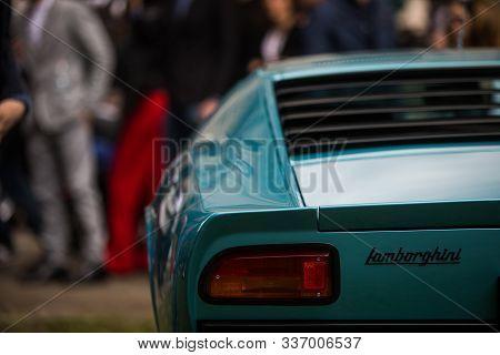Cernobbio, Italy - May 26, 2019: Illustrative Editorial Close Up Shot Of The Lamborghini Miura Logo
