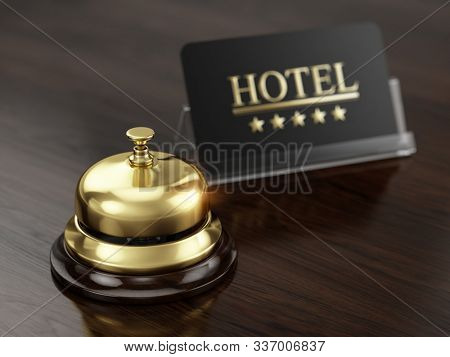 Hotel sign five stars and reception bell on reception desk. Hotel and booking concept. 3d rendering