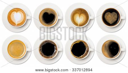 Coffee Cup Assortment Top View Collection, Coffee Cup Assortment With Heart Sign Top View Collection