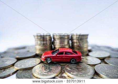 Toy Cars With Gold Coins Show To Growth, Saving Money For Car Loans.