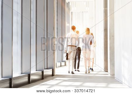 Business people walking while discussing plans before meeting in office hall with lens flare