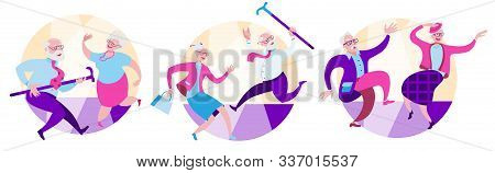 Set Of Illustrations. Happy Dancing Elderly Couples. Vector Illustration On The Theme Of Happy Old A