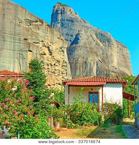 Houses in Kastraki village at the foot of Meteora rocks, Thessaly, Greece