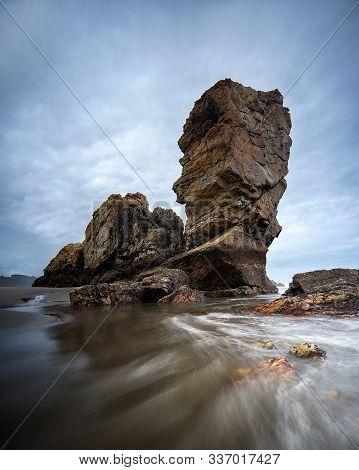 Bayas Beach Autum Sky In Asturias Region