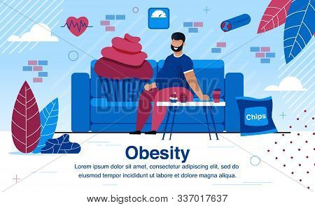 Obesity And Unhealthy Lifestyle, Vascular Diseases And Diabetes Prevention Trendy Flat Vector Banner