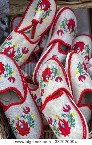 Multicolored House Slippers With Tipical Hungarian Patterns, Made Of Woven Wool And Exposed In Bulk