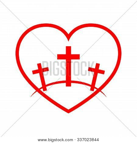 Calvary Symbol With Shape Of Heart. Vector Illustration. Red Icon Of Golgotha