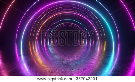 Infinity Flight Inside Tunnel, Neon Light Abstract Background, Round Arcade, Portal, Rings, Circles,