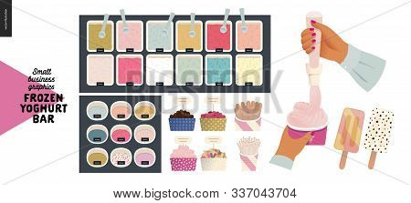Frozen Yoghurt Bar - Small Business Graphics - Process And Product -modern Flat Vector Concept Illus