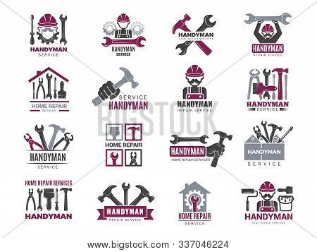 Handyman Badges. Builders And Workers Contractor Symbols Technicians Vector Logotypes For Handyman.