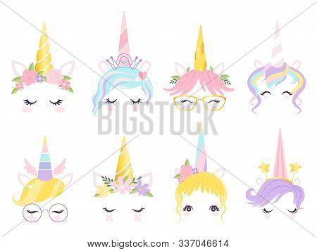 Unicorn Face. Fantasy Horse Pony Animal Creation Kit Ears Head Horn Eyes And Hairs Glasses Vector Cu