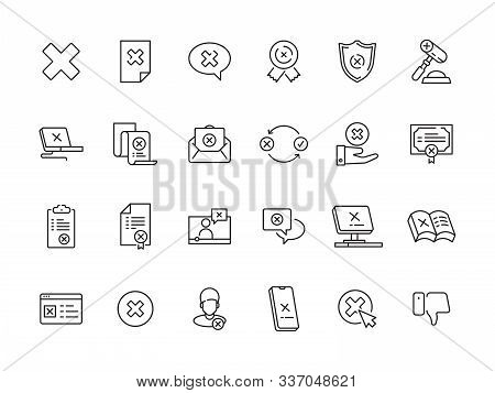 Rejected Symbols. Guarantee Or Contract Refuses Judge Canceled Stamp Vector Rejected Icons Collectio