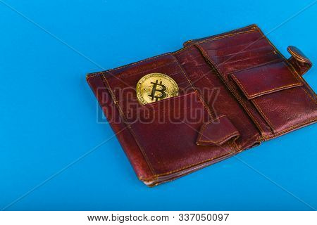 Bitcoin Purchase Concept. Bitcoin Purchase Concept. Place For An Inscription. Bitcoin And Wallet. Bi