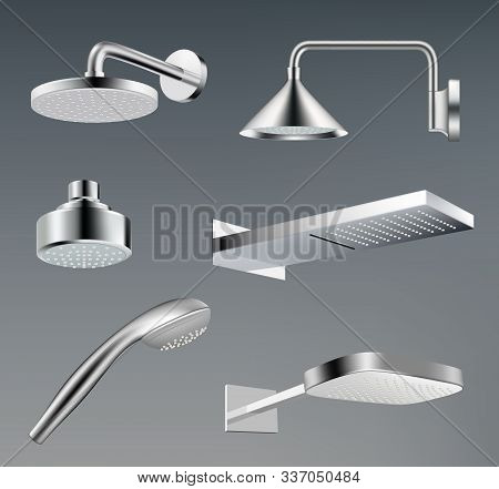 Shower Heads. Metallic Accessories For Bathroom Water Shower Vector Realistic Template. Illustration