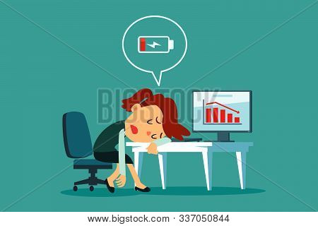 Frustrated And Tired Businesswoman Laid Her Head On Office Desk With Low Battery Icon. Business Stre