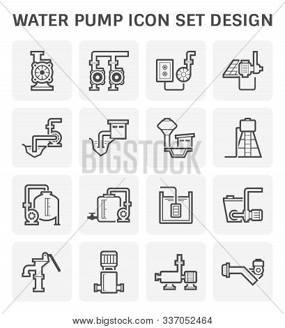 Electric Water Pump And Water Tank And Steel Pipe For Water Distribution Isolated On White Backgroun