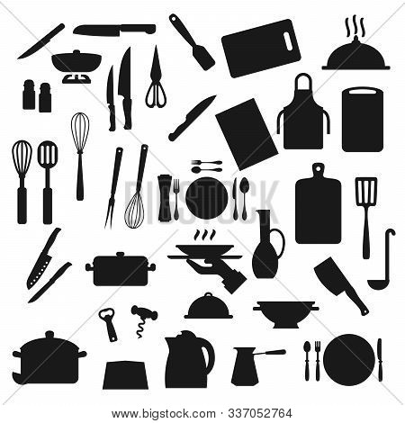 Cooking Utensils, Kitchen Cutlery And Kitchenware Silhouette Icons. Vector Home Cook Utensils And Co