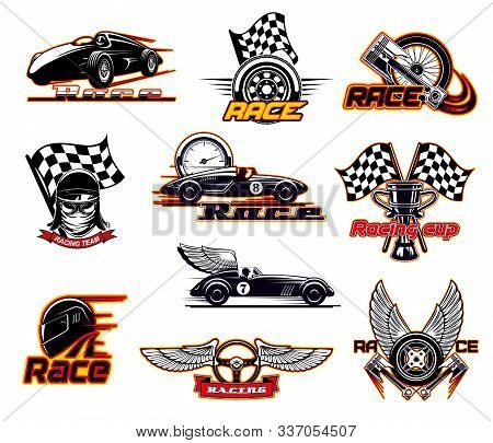 Car Races, Fast Auto Motor Sport Icons And Street Racing Club Emblems. Vector Sportcar Bolid With Bu