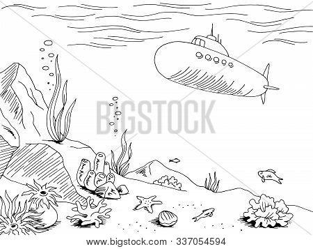 Underwater Submarine Graphic Sea Black White Sketch Illustration Vector