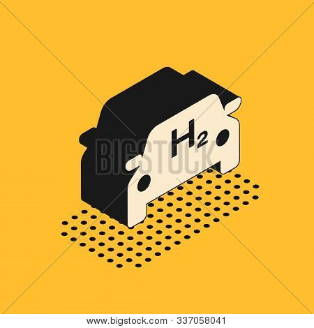 Isometric Hydrogen Car Icon Isolated On Yellow Background. H2 Station Sign. Hydrogen Fuel Cell Car E